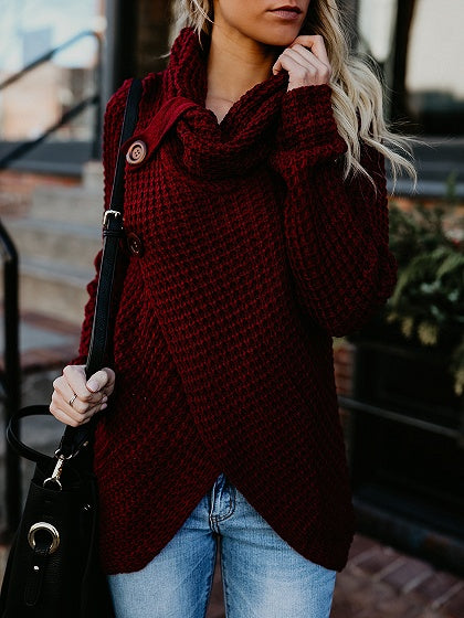 Burgundy High Neck Long Sleeve Chic Women Knit Sweater
