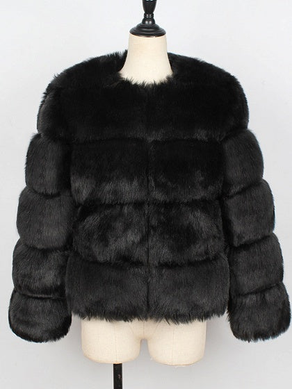 Black Faux Fur Long Sleeve Chic Women Fluffy Coat