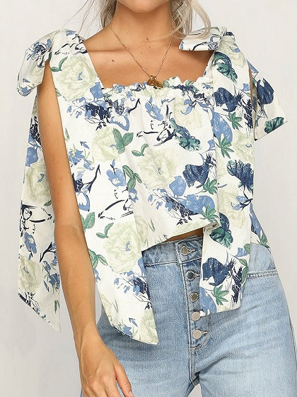 Polychrome Floral Print Tie Detail Sleeveless Chic Women Crop Blouse