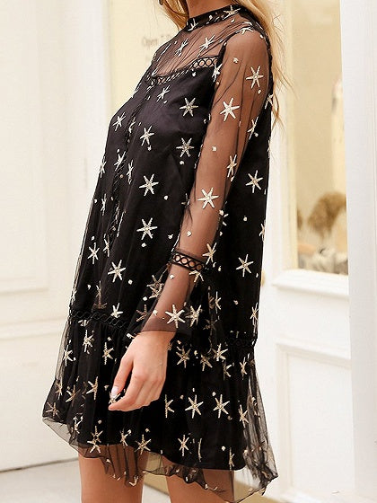 Black Star Print Long Sleeve Chic Women Sheer Mesh Mini Dress