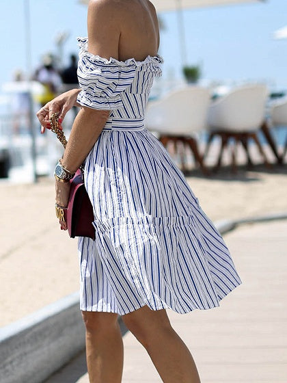 Blue Stripe Off Shoulder Button Placket Front Chic Women Mini Dress