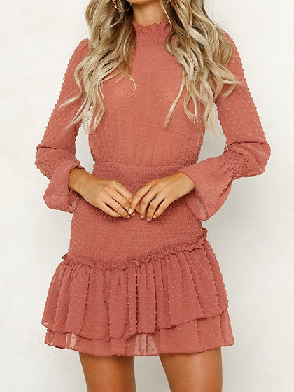 Pink Chiffon Polka Dot Print Puff Sleeve Chic Women Mini Dress