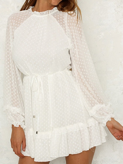 White Chiffon Polka Dot Print Puff Sleeve Chic Women Mini Dress