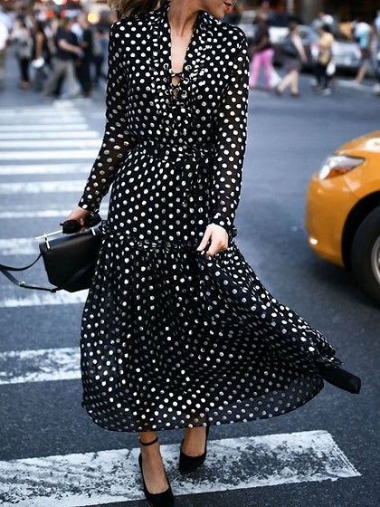 Black V-neck Polka Dot Print Long Sleeve Chic Women Maxi Dress