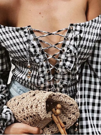Black Plaid Eyelet Lace Up Front Puff Sleeve Chic Women Bodysuit