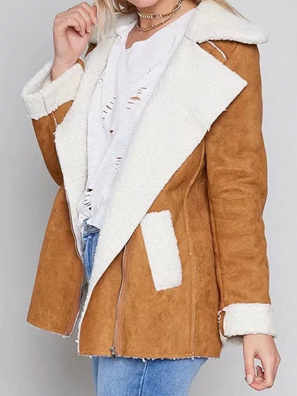 Khaki Faux Shearling Lapel Neck Long Sleeve Chic Women Jacket