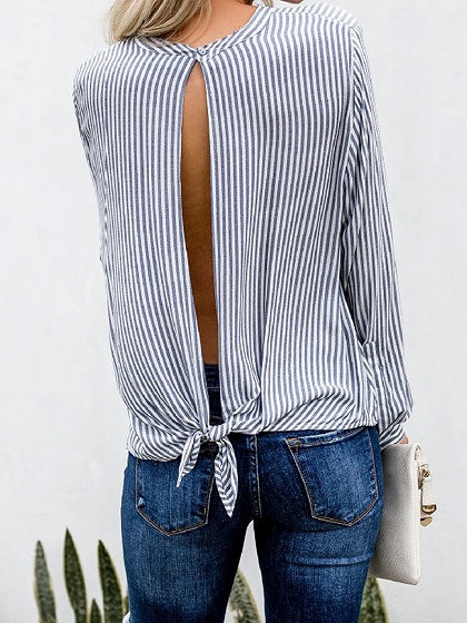 Black Stripe Cut Out Detail Long Sleeve Chic Women Blouse