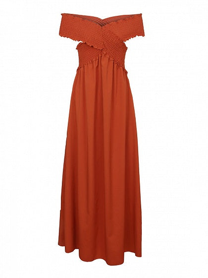 Brown Off Shoulder Pocket Detail Chic Women Maxi Dress
