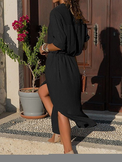 Black V-neck Thigh Split Long Sleeve Chic Women Maxi Dress