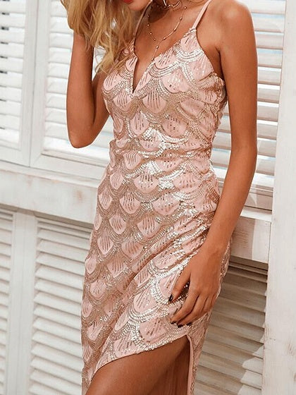 Pink V-neck Sequin Detail Chic Women Bodycon Cami Maxi Dress