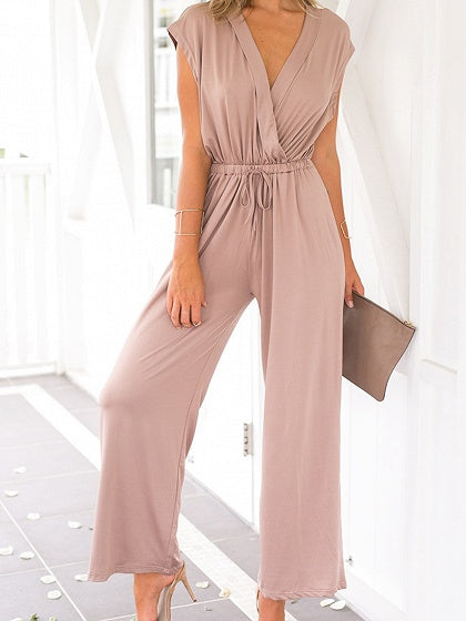 Pink Cotton V-neck Sleeveless Chic Women Jumpsuit