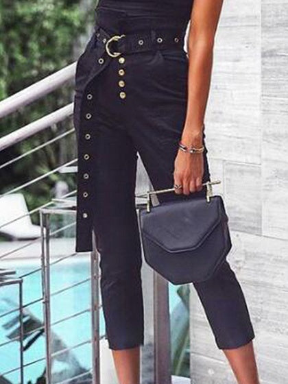 Black High Waist Button Placket Front Chic Women Pants