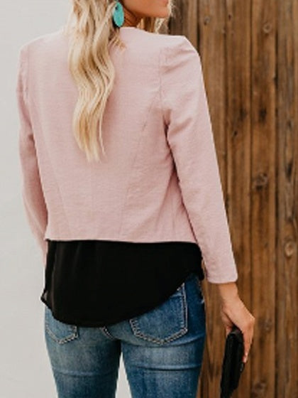 Pink Long Sleeve Chic Women Crop Blazer