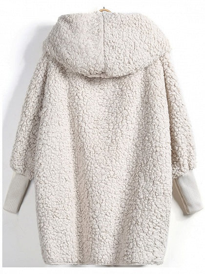 Light Khaki Faux Shearling Long Sleeve Chic Women Hoodie Coat