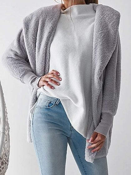 Gray Long Sleeve Chic Women Fluffy Hoodie Coat