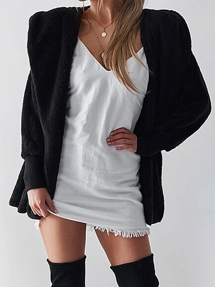 Black Long Sleeve Chic Women Hoodie Coat