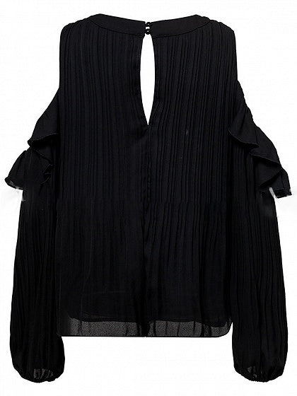 Black Chiffon Cold Shoulder Puff Sleeve Chic Women Blouse