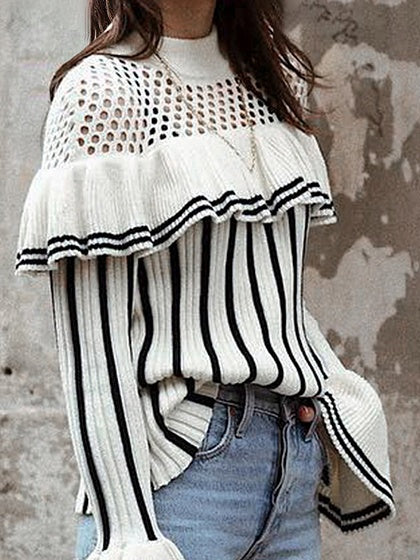 Black Stripe Ruffle Trim Flare Sleeve Chic Women Knit Sweater
