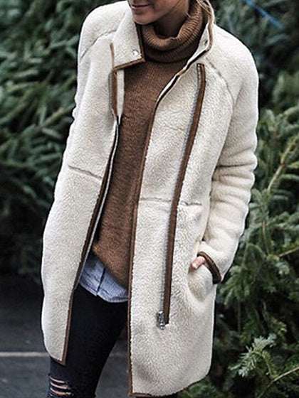 Beige High Neck Zip Front Long Sleeve Chic Women Coat