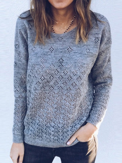 Gray Cut Out Detail Long Sleeve Chic Women Knit Cardigan