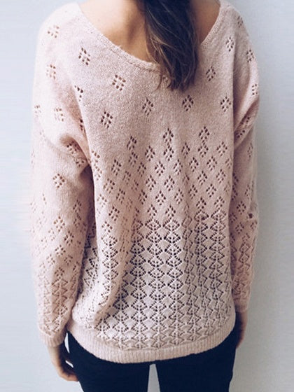 Pink Cut Out Detail Long Sleeve Chic Women Knit Cardigan