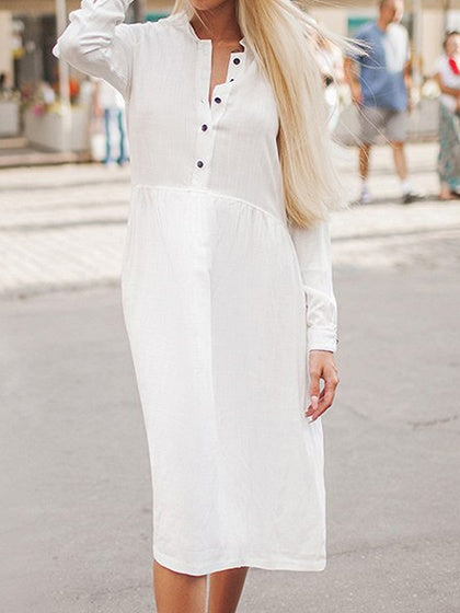 White Cotton Blend Button Placket Front Long Sleeve Chic Women Dress