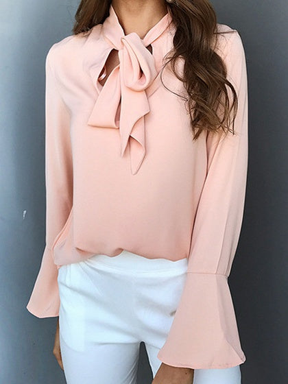 Pink Tie Front Flare Sleeve Chic Women Blouse ee8295e27