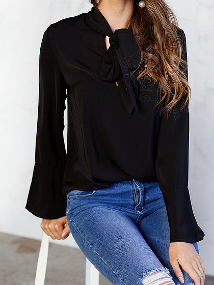 Black Tie Front Flare Sleeve Chic Women Blouse