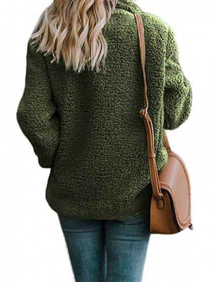 Green Faux Shearling Lapel Neck Long Sleeve Chic Women Coat