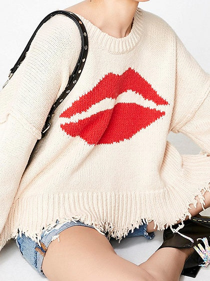 Beige Mouth Print Long Sleeve Chic Women Knit Sweater
