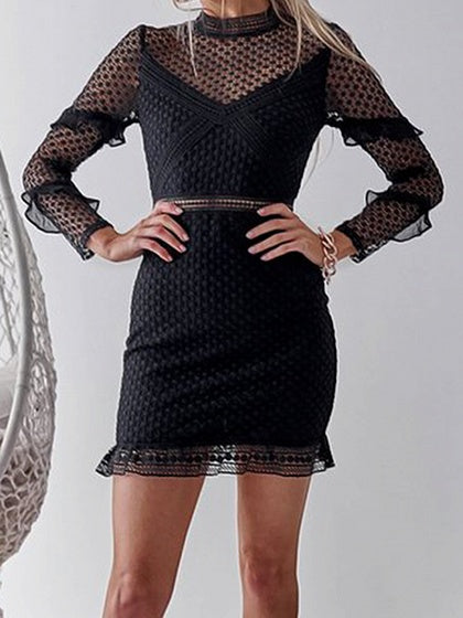 Black Ruffle Trim Long Sleeve Chic Women Lace Bodycon Mini Dress