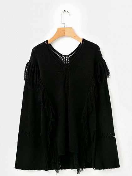 Black V-neck Tassel Trim Flare Sleeve Chic Women Knit Sweater