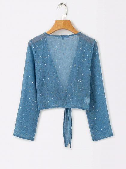 Green Plunge Star Sequin Detail Long Sleeve Chic Women Crop Blouse