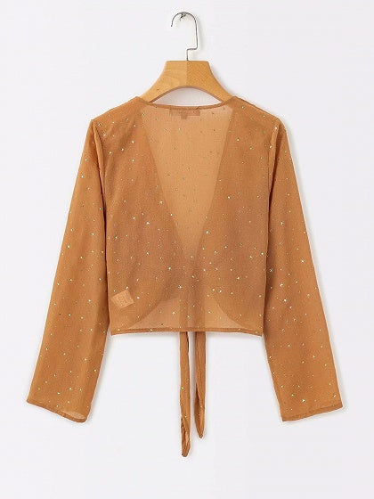 Khaki Plunge Star Sequin Detail Long Sleeve Chic Women Crop Blouse
