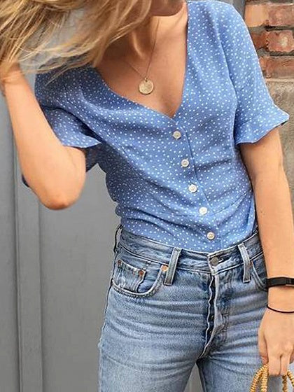 Blue V-neck Polka Dot Print Button Placket Front Chic Women Shirt