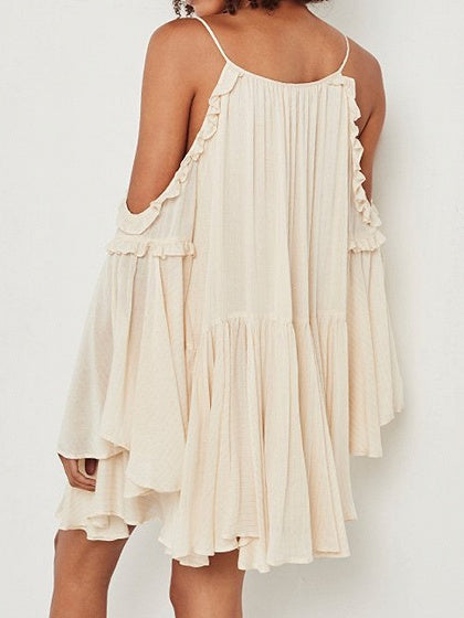 Beige V-neck Cold Shoulder Flare Sleeve Chic Women Cami Mini Dress