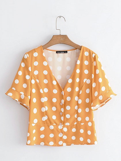 Yellow V-neck Polka Dot Print Button Placket Front Chic Women Shirt