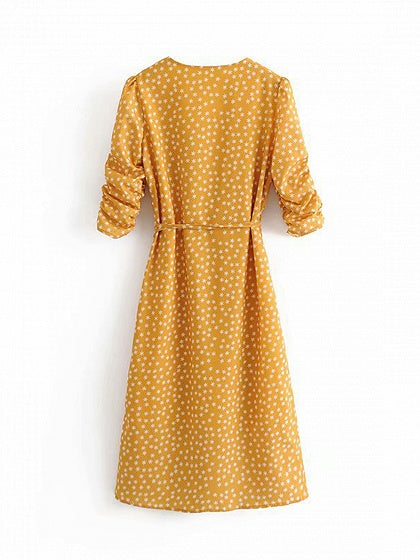 Yellow V-neck Polka Dot Print Tie Waist Chic Women Dress