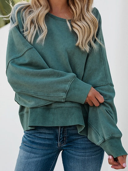 Green Cotton Open Back Long Sleeve Chic Women Sweatshirt