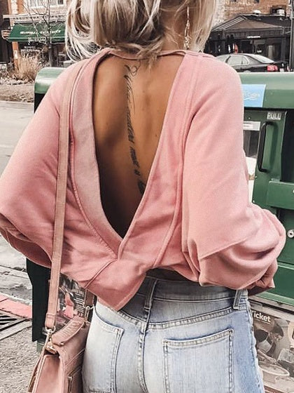 Pink Cotton Open Back Long Sleeve Chic Women Sweatshirt