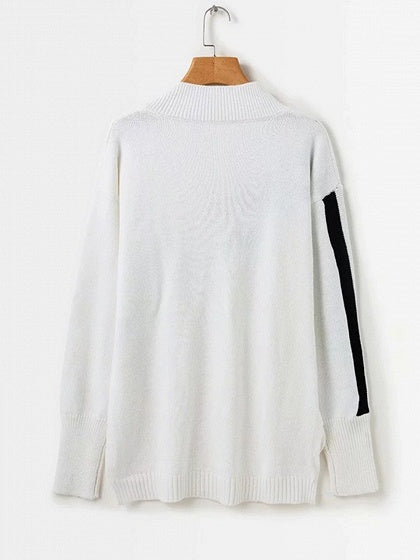 White V-neck Stripe Panel Long Sleeve Chic Women Knit Sweater