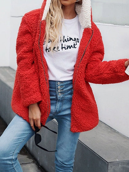 Red Faux Shearling Long Sleeve Chic Women Hoodie Coat