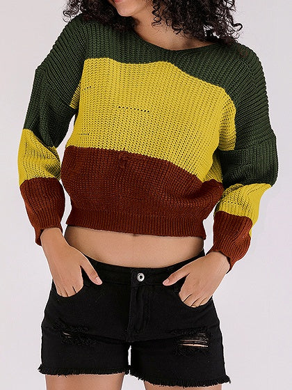 Yellow Contrast Long Sleeve Chic Women Knit Crop Hoodie Sweater