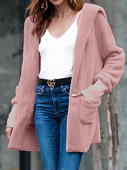 Pink Velvet Open Front Long Sleeve Chic Women Hoodie Coat