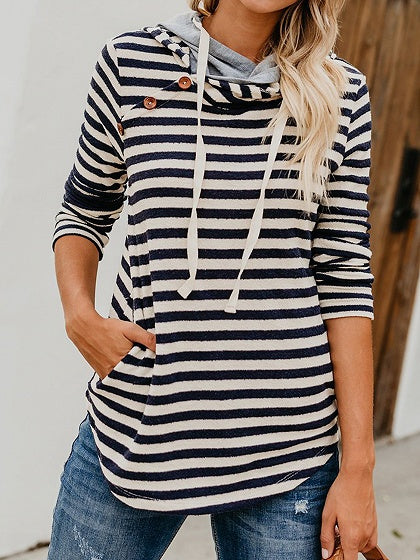 Dark Blue Stripe Cotton Long Sleeve Chic Women Hoodie