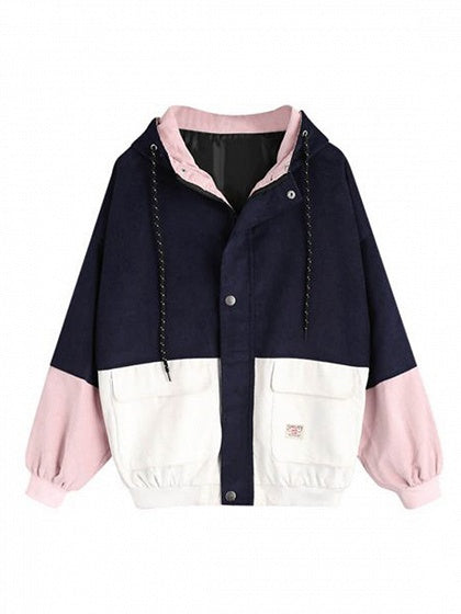 Dark Blue Contrast Long Sleeve Chic Women Corduroy Hoodie Coat