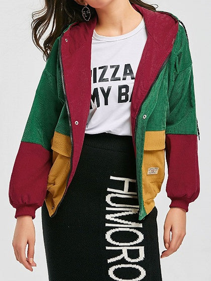 Green Contrast Long Sleeve Chic Women Corduroy Hoodie Coat