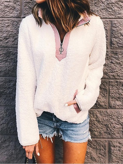 White Contrast Faux Shearling Lapel Long Sleeve Chic Women Hoodie