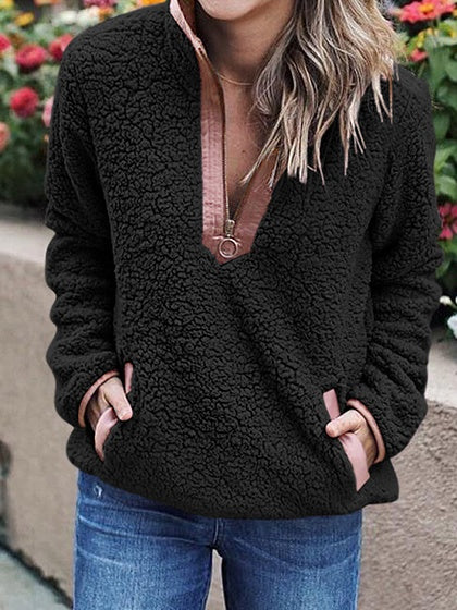Black Contrast Faux Shearling Lapel Long Sleeve Chic Women Hoodie