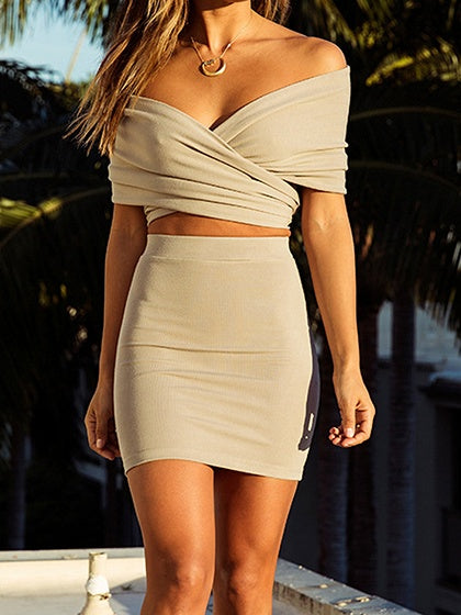 Nude V-neck Chic Women Crop Top And High Waist Mini Skirt